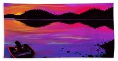 Pleasant Lake Sunset Bath Towel