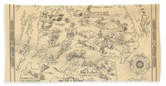 Pleasure Island Or The Bootleggers Paradise - Map Of Alcoholic Drinks - Brewers Map, 1925 Bath Towel