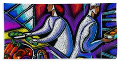 Bath Towel featuring the painting  Pleasure Of The Food Preparation by Leon Zernitsky