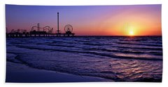 Pleasure Pier Sunrise Bath Towel by Judy Vincent