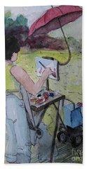 Hand Towel featuring the painting Plein-air Artist Sandra by Gretchen Allen