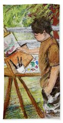Plein-air Painter Boy Hand Towel