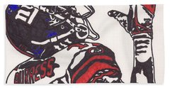 Bath Towel featuring the drawing Plexico Burress by Jeremiah Colley