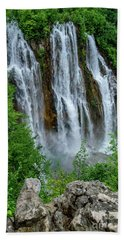 Plitvice Lakes Waterfall - A Balkan Wonder In Croatia Bath Towel