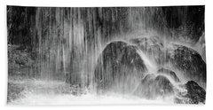 Plitvice Waterfall Black And White Closeup - Plitivice Lakes National Park, Croatia Hand Towel