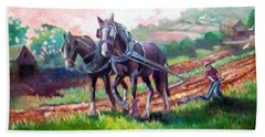 Bath Towel featuring the painting Ploughing by Paul Weerasekera