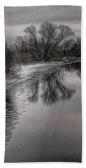 Plover River Black And White Winter Reflections Hand Towel