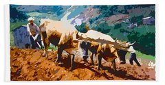 Hand Towel featuring the digital art Plowing With Oxen by Charlie Roman