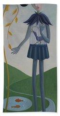 Hand Towel featuring the painting Plume by Tone Aanderaa