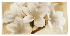 Plumerias In Cream And Brown Bath Towel