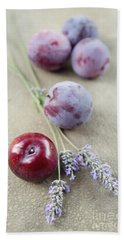 Hand Towel featuring the photograph Plums And Lavender by Cindy Garber Iverson