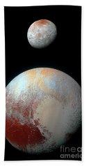 Pluto And Charon Hand Towel by Nicholas Burningham
