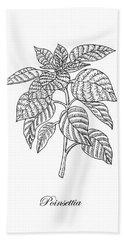 Poinsettia Botanical Drawing Hand Towel