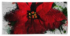 Hand Towel featuring the digital art Poinsettia by Charlie Roman