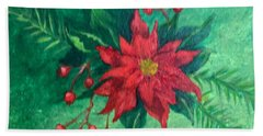 Hand Towel featuring the painting Poinsettia by Lucia Grilletto