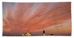 Point Judith Lighthouse Sunset Hand Towel