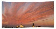 Point Judith Lighthouse Sunset Hand Towel