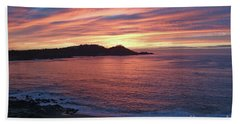 Point Lobos Red Sunset Bath Towel