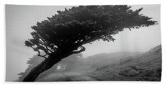 Point Reyes Fog Black And White Bath Towel