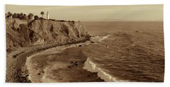 Point Vicente Lighthouse Palos Verdes California - Sepia Rendition Hand Towel