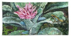 Poison Dart Frog On Bromeliad Hand Towel
