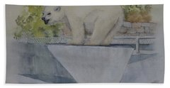Hand Towel featuring the painting Polar Bear In Vancouver Stanley Park Zoo Vancouver, Bc by Kelly Mills