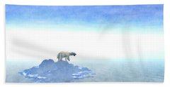 Hand Towel featuring the digital art Polar Bear On Iceberg by Phil Perkins