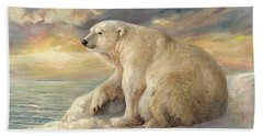 Hand Towel featuring the painting Polar Bear Rests On The Ice - Arctic Alaska by Svitozar Nenyuk
