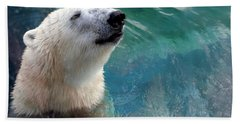 Polar Bear Up Close Hand Towel