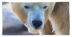 Polar Bear Wooden Texture Hand Towel by Dan Sproul
