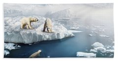 Polar Bears Hand Towel by Thanh Thuy Nguyen