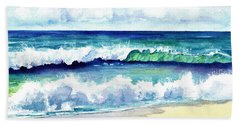 Hand Towel featuring the painting Polhale Waves 3 by Marionette Taboniar