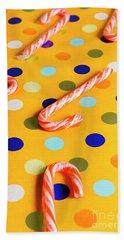 Polka-dot Christmas Canes Bath Towel