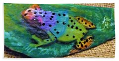 Polka-dotted Rainbow Frog Bath Towel by Ann Michelle Swadener