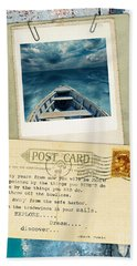 Poloroid Of Boat With Inspirational Quote Bath Towel