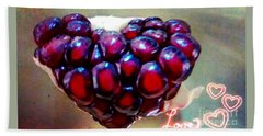 Hand Towel featuring the digital art Pomegranate Heart by Genevieve Esson