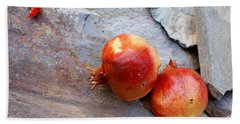 Hand Towel featuring the photograph Pomegranates On Stone by Cindy Garber Iverson