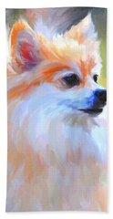 Pomeranian Portrait Bath Towel by Jai Johnson