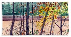 Pond In Fall Bath Towel by Donald Maier