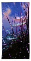 Pond Reeds At Sunset Hand Towel