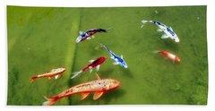 Pond With Koi Fish Hand Towel by Joseph Frank Baraba