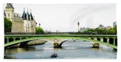 Pont Au Change Over The Seine River In Paris Bath Towel