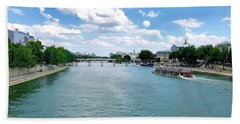 River Seine At Pont Du Carrousel Hand Towel