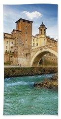Ponte Fabricio And Tiber Island Rome Italy Hand Towel