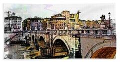 Ponte San Angelo, Rome, Italy Hand Towel