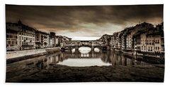 Ponte Vecchio In Sepia Bath Towel