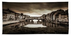 Ponte Vecchio In Sepia Bath Towel by Sonny Marcyan