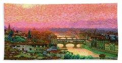 Ponte Vecchio Sunset Florence Bath Towel