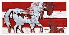 Pony And Pup Bath Towel by Larry Campbell