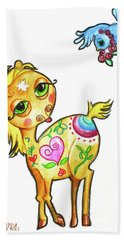 Pony And The Bluebird Watercolor Pencil Art Bath Towel by Shelley Overton